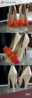 "Beautiful coral platform 5"" heels worn one time 