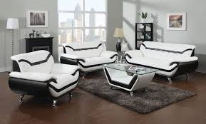 White Leather Chairs For Living Room 2 Piece Modern White Leather Sofas With Black Trim