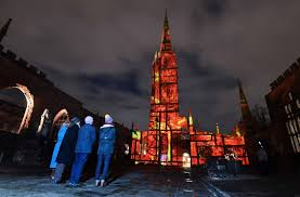 Light Falls On Reporter Incredible Light Show Tells Story Of Coventry Blitz