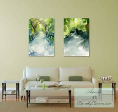 Peaceful Living Room with Landscape Art Prints contemporary-living-room