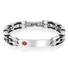 bling jewelry mens snless steel bike links al alert id bracelet 8in