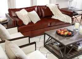 Low Seating Furniture Living Room Ethan Allen Abington Leather Sofa Track Arm Style Designed Slim
