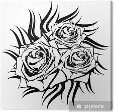 Obraz černá Růže Na Bílém Pozadí Tetování Element Na Plátně