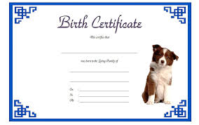 dog birth certificates pet birth certificate template 2 the best template collection