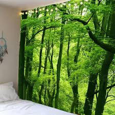 waterproof forest wall art tapestry green w79 inch l59 inch