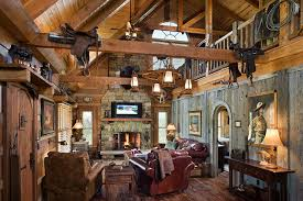 Great Western Decor Ideas For Living Room With Log Home With Barn Wood And  Western Decor Traditional Living Room 14 Photo Gallery