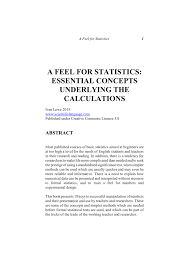 PDF) A Feel for Statistics A FEEL FOR STATISTICS: ESSENTIAL CONCEPTS  UNDERLYING THE CALCULATIONS -, slightly updated 2015