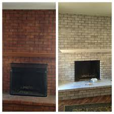 whitewash stone fireplace before and after painted whitewashed brick paint