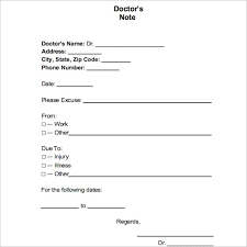 Excuse From Work Doctors Note 37 Doctors Note Template Free Pdf Word Examples