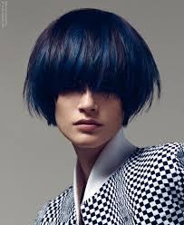 Kort Zwart Haar Met Blauwe Stroken