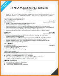 Sample Resume For It Manager Topshoppingnetwork Com