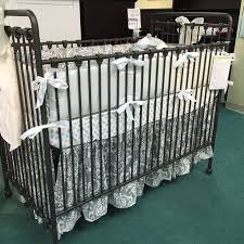 Grey Damask crib bedding by Pine Creek on Baby s Dream iron Willa