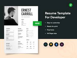 Free Resume Template For Developers With Portfolio Get Psd