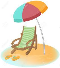 Flip Flop Chair Parasol Sunbed And Flip Flops Vector Cartoon Illustration Royalty