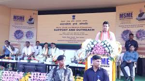 Tripura CM addressing the MSME support programme launch on Friday