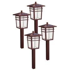hampton bay solar square mission led bronze outdoor pathway light kit 4 pack