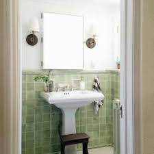 vintage bathroom pedestal sinks. Vintage Small Bathroom With Green And White Tile Pedestal Sink Sinks
