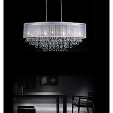 radiant 9 light chrome chandelier with white shade