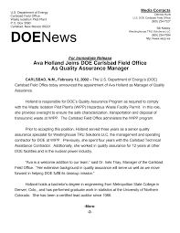 Ava Holland Joins DOE Carlsbad Field Office As Quality Assurance Manager