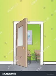 open classroom door. Plain Open Adorable Doorman Holding Door Open  In Classroom P