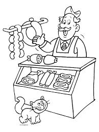 Kleurplaat Slager Verkoopt Vlees Kleurplatennl Beroepen