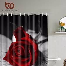 bedding red roses with black leaves shower curtain romantic bathroom curtains fabric bathroom set with hooks 71 x71 180cm