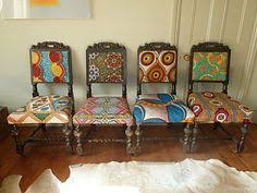 frumpy chairs get a tribal fabric makeover find this pin and more on home dining room