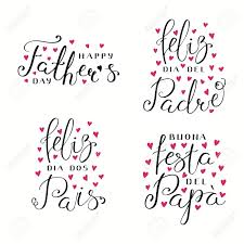 Set Of Hand Written Fathers Day Lettering Quotes With Hearts