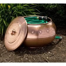 garden hose pot with lid. Riveted Copper Hose Pot - With Lid Garden