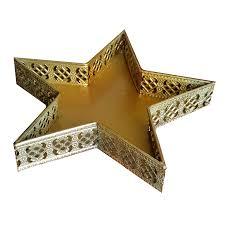 Metall Tablett Stern Weihnachtsstern Gold