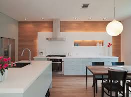 view in gallery modern kitchen with wooden horizontal paneling