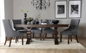 cavendish dark wood extending dining table with 6 duke slate chairs
