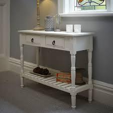 cream console table. Classic Crisp White Wooden Console Table - Hallway Storage Solution 2 Drawer, Under Shelf Cream
