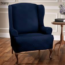 Navy Wing Chair Slipcover