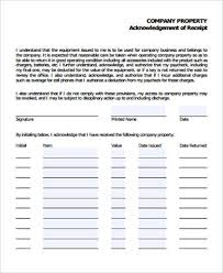 company property acknowledgement form acknowledgement receipt sample 18 examples in word pdf