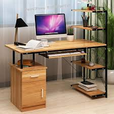 office book shelf. office computer laptop wooden desk study table with book shelf drawer a