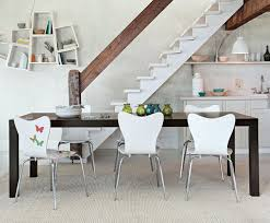 interesting simple parsons expandable wooden dining table design ideas with modern molded plastic designer chairs in