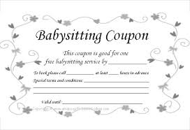 babysitting gift certificate template free babysitting voucher under fontanacountryinn com