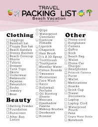 Vacation Checklist Jordan Hebl Packing List For A Beach Vacation Free Printable