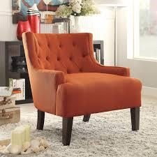 chair annora orange accent chair  with ottoman orange