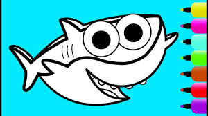 Glitter Baby Shark Coloring Page Drawing And Coloring Learn Colors