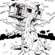 Small Picture Kids Drawing of a Treehouse Coloring Page Kids Drawing of a