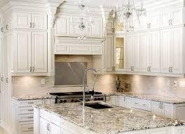 stylish antique white kitchen cabinet with elegant glass chandelier