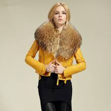 2016 fashion women s geniune leather jacket leather coat genuine leather jacket with fur collar in leather