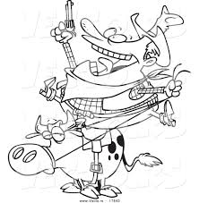 Small Picture Vector of a Cartoon Fat Cowboy on a Bull Coloring Page Outline