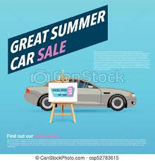 Automobile For Sale Sign Car Sale Banner Vector Illustration With Cartoon Style Car Gray Sedan On Blue Background