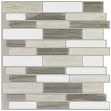 Peel&Stick Mosaics Beige Mist Linear Mosaic Composite Wall Tile (Common:  10-in x