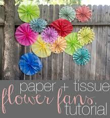 how to make paper and tissue paper flower fans