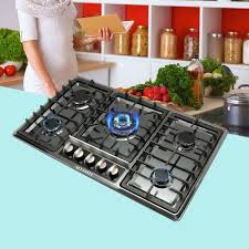 details about 34 black anium stainless steel built in 5 ring burner stoves gas hob cooktop