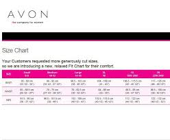 Avon And Mark Size Charts Avonwithelaine
